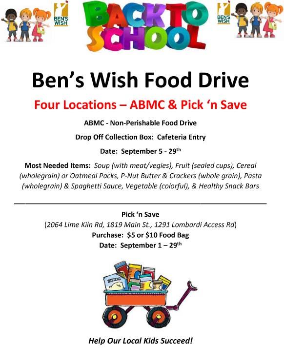 Ben's Wish Back to School Food Drive